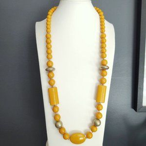 Long ceramic and metal beaded necklace